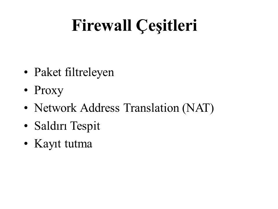 Paket filtreleyen Proxy Network Address Translation (NAT) Saldırı Tespit Kayıt tutma Firewall Çeşitleri