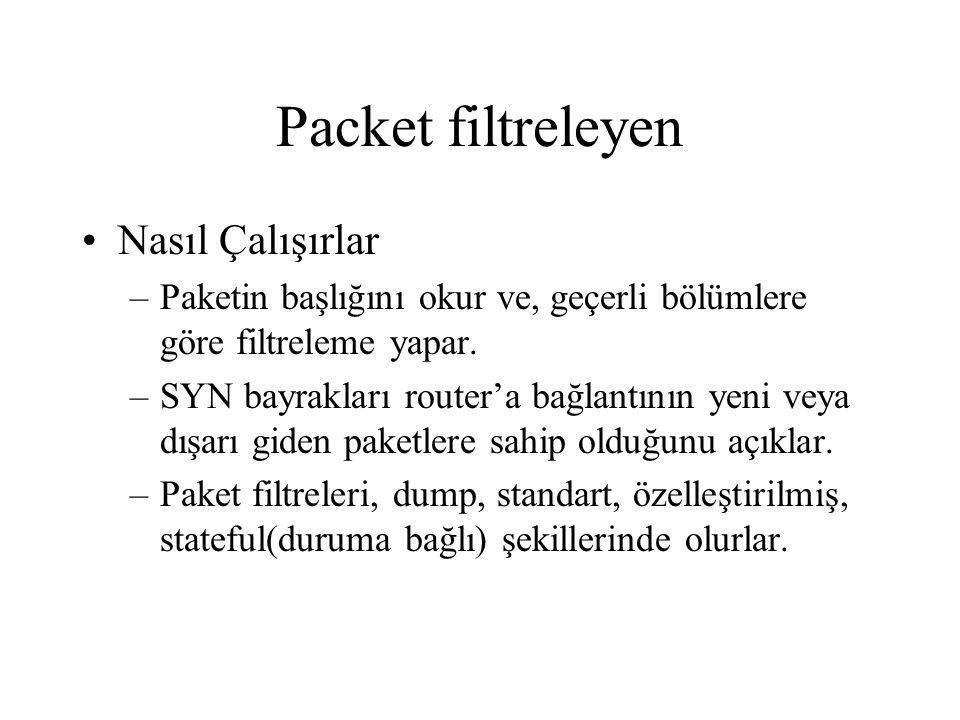 Packet filtreleyen Nasıl Çalışırlar –Paketin başlığını okur ve, geçerli bölümlere göre filtreleme yapar.
