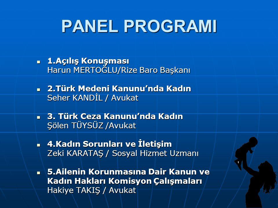 PANEL PROGRAMI 1.Açılış Konuşması 1.Açılış Konuşması Harun MERTOĞLU/Rize Baro Başkanı 2.Türk Medeni Kanunu'nda Kadın 2.Türk Medeni Kanunu'nda Kadın Se