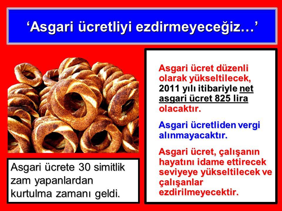 'Asgari ücretliyi ezdirmeyeceğiz…' Asgari ücret düzenli olarak yükseltilecek, 2011 yılı itibariyle net asgari ücret 825 lira olacaktır.