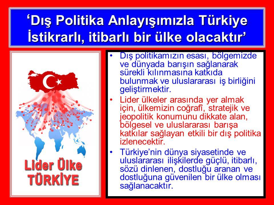 ' Dış Politika Anlayışımızla Türkiye İstikrarlı, itibarlı bir ülke olacaktır' Dış politikamızın esası, bölgemizde ve dünyada barışın sağlanarak sürekli kılınmasına katkıda bulunmak ve uluslararası iş birliğini geliştirmektir.