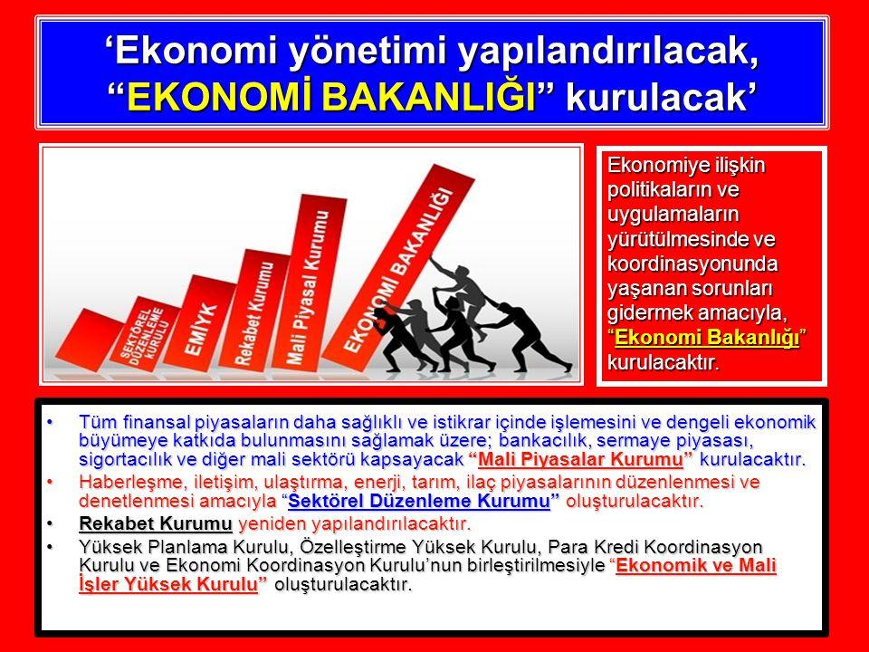 'Ekonomi yönetimi yapılandırılacak, EKONOMİ BAKANLIĞI kurulacak' Tüm finansal piyasaların daha sağlıklı ve istikrar içinde işlemesini ve dengeli ekonomik büyümeye katkıda bulunmasını sağlamak üzere; bankacılık, sermaye piyasası, sigortacılık ve diğer mali sektörü kapsayacak Mali Piyasalar Kurumu kurulacaktır.Tüm finansal piyasaların daha sağlıklı ve istikrar içinde işlemesini ve dengeli ekonomik büyümeye katkıda bulunmasını sağlamak üzere; bankacılık, sermaye piyasası, sigortacılık ve diğer mali sektörü kapsayacak Mali Piyasalar Kurumu kurulacaktır.