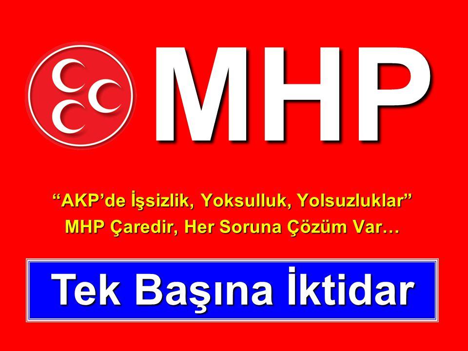 MHP AKP'de İşsizlik, Yoksulluk, Yolsuzluklar MHP Çaredir, Her Soruna Çözüm Var… Tek Başına İktidar