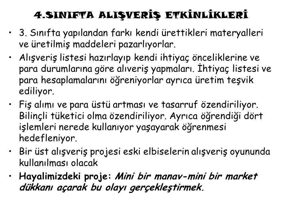 4.SINIFTA ALIŞVERİŞ ETKİNLİKLERİ 3.