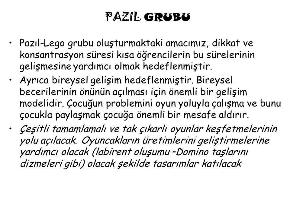 PAZIL GRUBU Pazıl-Lego grubu oluşturmaktaki amacımız, dikkat ve konsantrasyon süresi kısa öğrencilerin bu sürelerinin gelişmesine yardımcı olmak hedeflenmiştir.