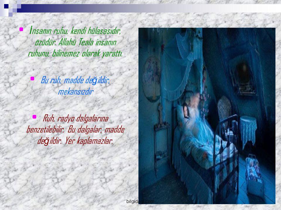 İ nsanın ruhu, kendi hülasasıdır, özüdür.Allahü Teala insanın ruhunu, bilinemez olarak yarattı.
