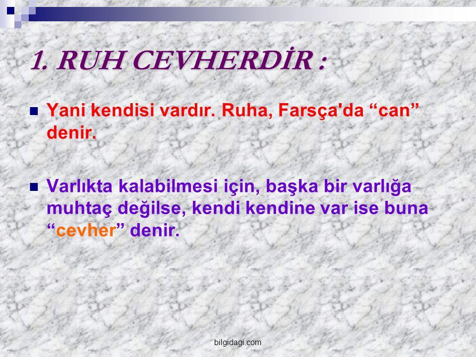 """1. RUH CEVHERDİR : Yani kendisi vardır. Ruha, Farsça'da """"can"""" denir. Varlıkta kalabilmesi için, başka bir varlığa muhtaç değilse, kendi kendine var is"""