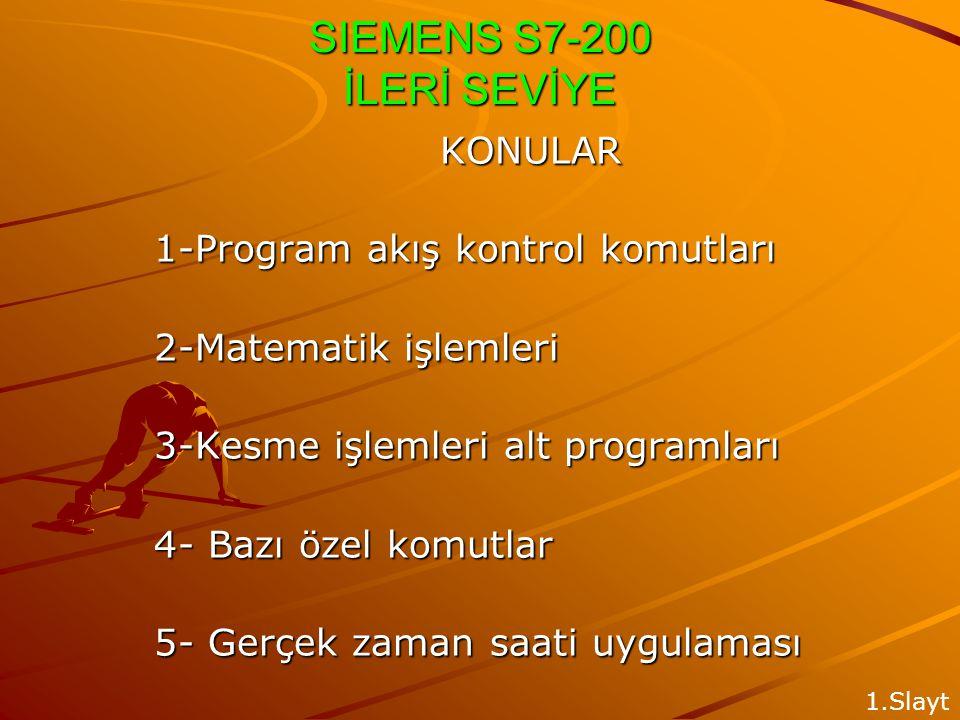 SIEMENS S7-200 İLERİ SEVİYE KONULAR 1-Program akış kontrol komutları 2-Matematik işlemleri 3-Kesme işlemleri alt programları 4- Bazı özel komutlar 5- Gerçek zaman saati uygulaması 1.Slayt
