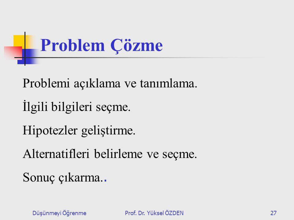 Düşünmeyi ÖğrenmeProf.Dr. Yüksel ÖZDEN27 Problem Çözme Problemi açıklama ve tanımlama.