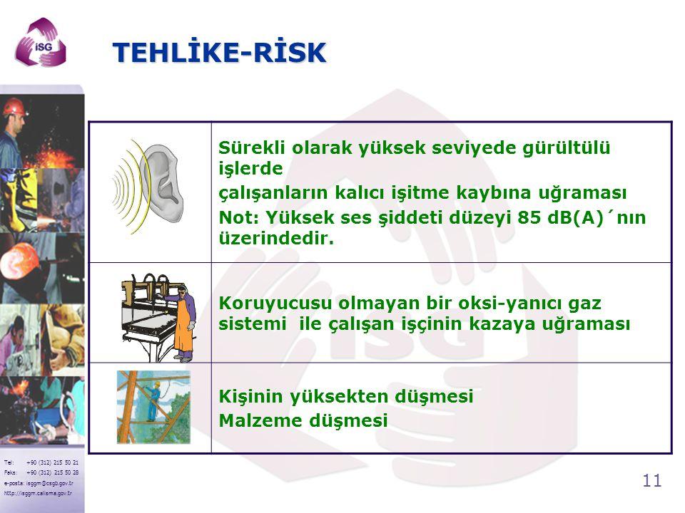11 Tel: +90 (312) 215 50 21 Faks: +90 (312) 215 50 28 e-posta: isggm@csgb.gov.tr http://isggm.calisma.gov.tr TEHLİKE-RİSK Sürekli olarak yüksek seviye