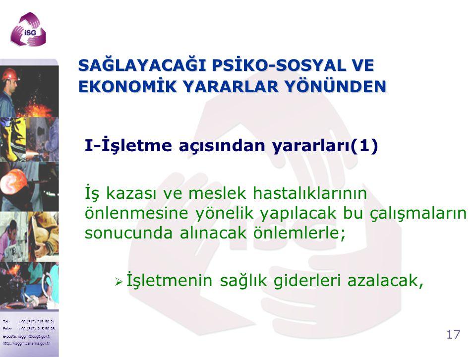 17 Tel: +90 (312) 215 50 21 Faks: +90 (312) 215 50 28 e-posta: isggm@csgb.gov.tr http://isggm.calisma.gov.tr SAĞLAYACAĞI PSİKO-SOSYAL VE EKONOMİK YARA
