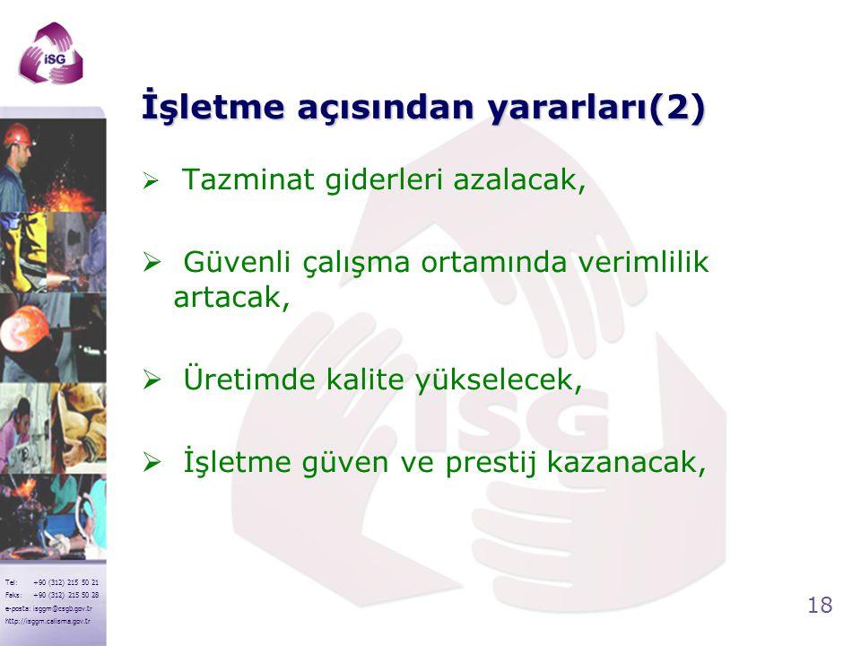 18 Tel: +90 (312) 215 50 21 Faks: +90 (312) 215 50 28 e-posta: isggm@csgb.gov.tr http://isggm.calisma.gov.tr İşletme açısından yararları(2)  Tazminat