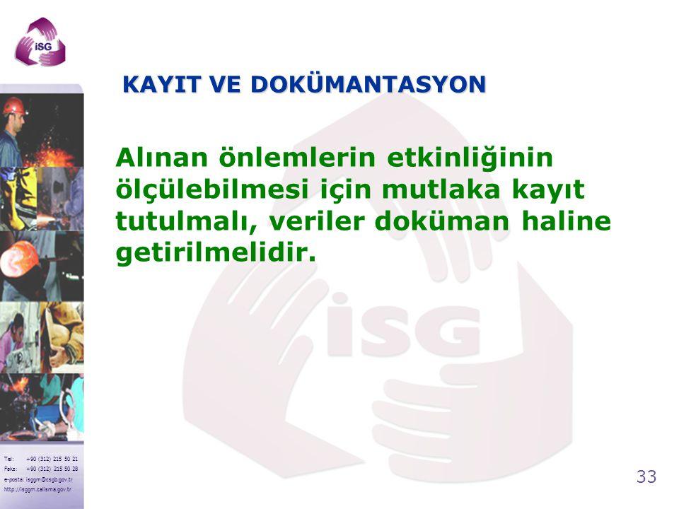 33 Tel: +90 (312) 215 50 21 Faks: +90 (312) 215 50 28 e-posta: isggm@csgb.gov.tr http://isggm.calisma.gov.tr KAYIT VE DOKÜMANTASYON Alınan önlemlerin