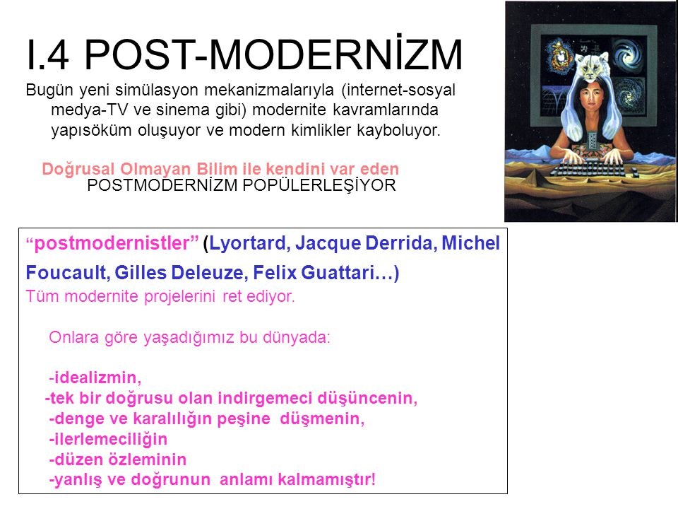 I.4 POST-MODERNİZM Bugün yeni simülasyon mekanizmalarıyla (internet-sosyal medya-TV ve sinema gibi) modernite kavramlarında yapısöküm oluşuyor ve mode