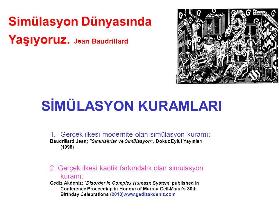 """1.Gerçek ilkesi modernite olan simülasyon kuramı: Baudrillard Jean; """"Simulakrlar ve Simülasyon"""", Dokuz Eylül Yayınları (1998) 2. Gerçek ilkesi kaotik"""