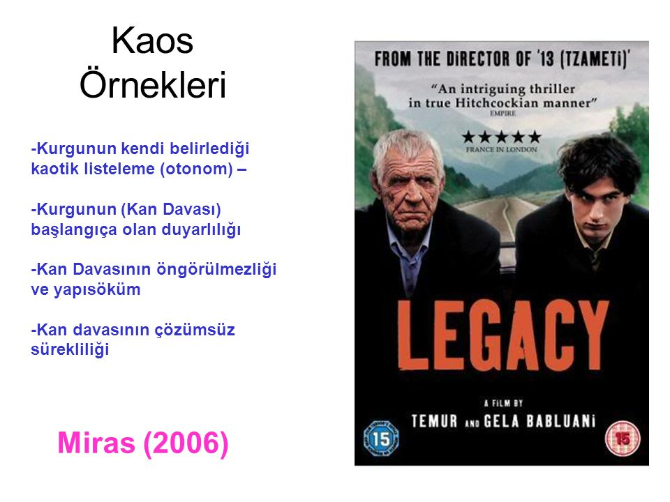 Kaos Örnekleri Miras (2006) -Kurgunun kendi belirlediği kaotik listeleme (otonom) – -Kurgunun (Kan Davası) başlangıça olan duyarlılığı -Kan Davasının