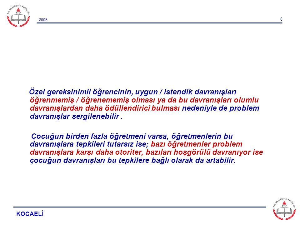 2008 KOCAELİ 9 PROBLEM DAVRANIŞLARI ORTADAN KALDIRMA AŞAMALARI 1.Problem davranışın tanımlanması, 2.