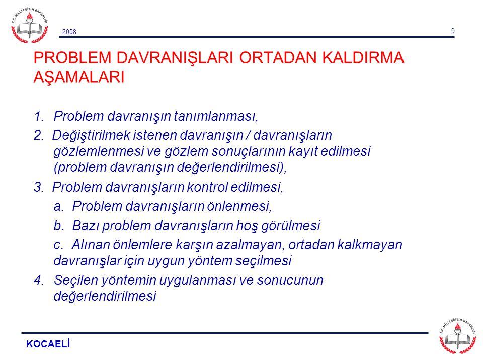 2008 KOCAELİ 9 PROBLEM DAVRANIŞLARI ORTADAN KALDIRMA AŞAMALARI 1.Problem davranışın tanımlanması, 2. Değiştirilmek istenen davranışın / davranışların