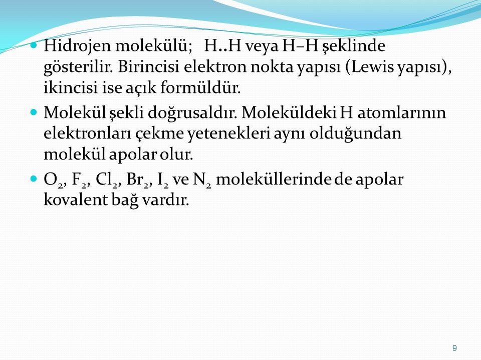 Hidrojen molekülü; H..H veya H–H şeklinde gösterilir. Birincisi elektron nokta yapısı (Lewis yapısı), ikincisi ise açık formüldür. Molekül şekli doğru