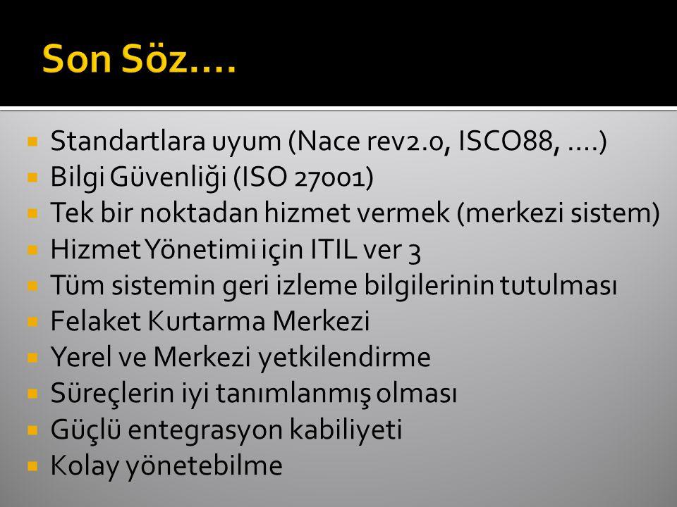  Standartlara uyum (Nace rev2.0, ISCO88, ….)  Bilgi Güvenliği (ISO 27001)  Tek bir noktadan hizmet vermek (merkezi sistem)  Hizmet Yönetimi için ITIL ver 3  Tüm sistemin geri izleme bilgilerinin tutulması  Felaket Kurtarma Merkezi  Yerel ve Merkezi yetkilendirme  Süreçlerin iyi tanımlanmış olması  Güçlü entegrasyon kabiliyeti  Kolay yönetebilme