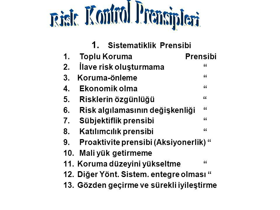 """1. Sistematiklik Prensibi 1. Toplu Koruma Prensibi 2. İlave risk oluşturmama """" 3.Koruma-önleme"""" 4. Ekonomik olma """" 5. Risklerin özgünlüğü """" 6. Risk al"""