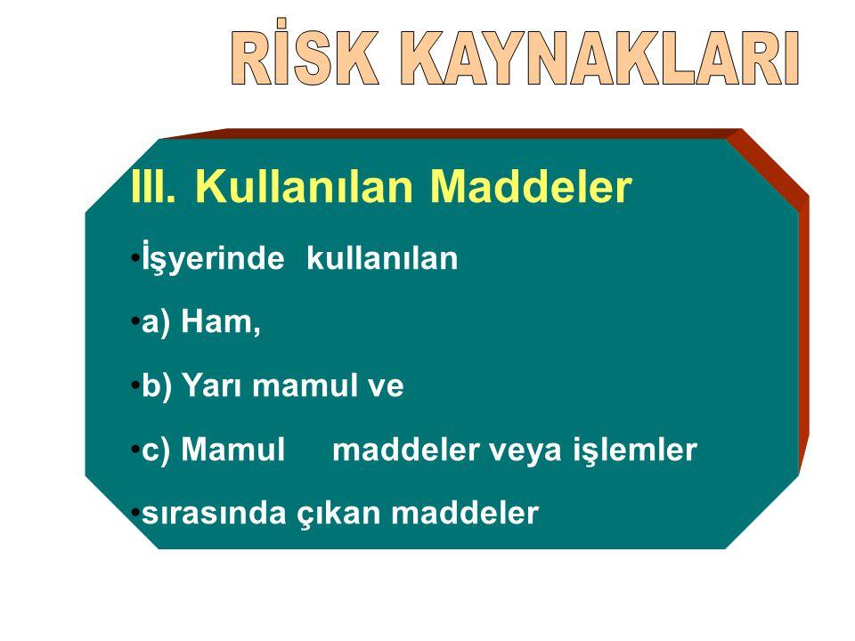 III. Kullanılan Maddeler İşyerinde kullanılan a) Ham, b) Yarı mamul ve c) Mamul maddeler veya işlemler sırasında çıkan maddeler