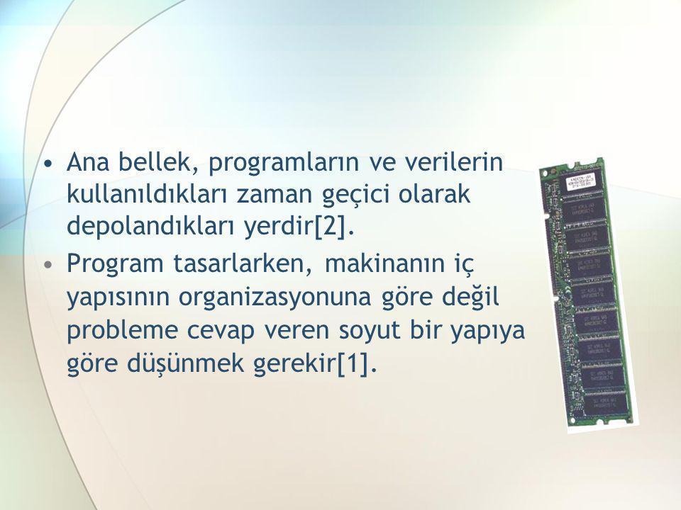 Ana bellek, programların ve verilerin kullanıldıkları zaman geçici olarak depolandıkları yerdir[2].