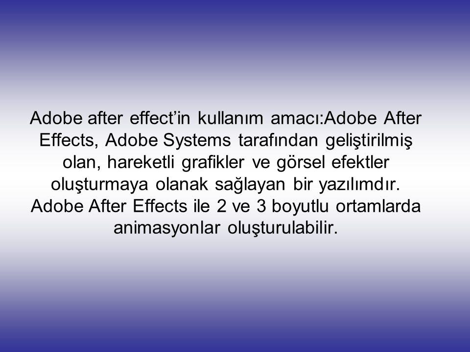 Adobe after effect'in kullanım amacı:Adobe After Effects, Adobe Systems tarafından geliştirilmiş olan, hareketli grafikler ve görsel efektler oluşturm