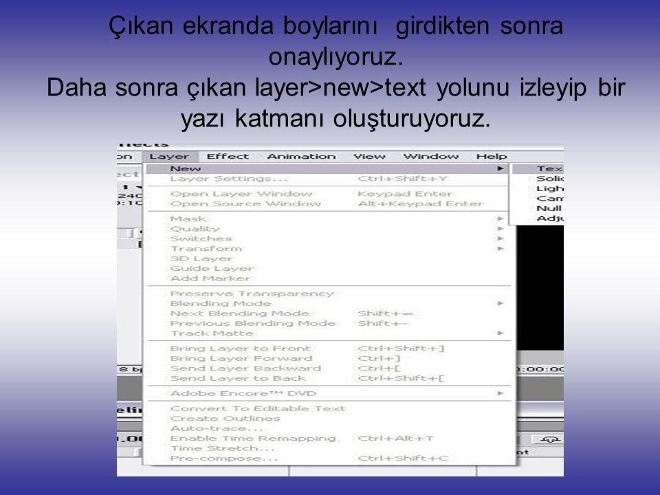 Çıkan ekranda boylarını girdikten sonra onaylıyoruz. Daha sonra çıkan layer>new>text yolunu izleyip bir yazı katmanı oluşturuyoruz.