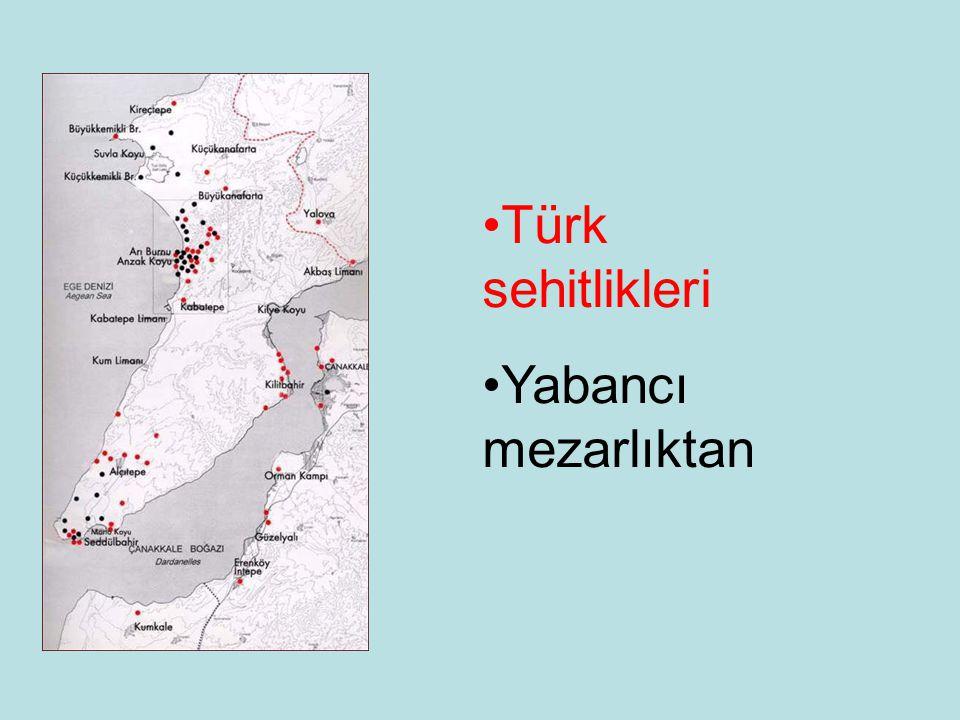 Türk sehitlikleri Yabancı mezarlıktan