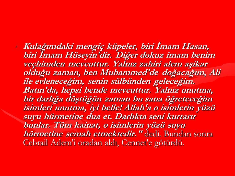 Kulağımdaki mengiç küpeler, biri İmam Hasan, biri İmam Hüseyin'dir. Diğer dokuz imam benim veçhimden mevcuttur. Yalnız zahiri alem aşikar olduğu zaman
