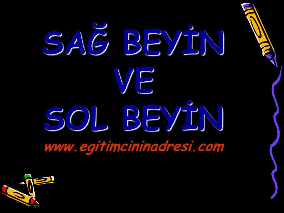 SAĞ BEYİN VE SOL BEYİN SAĞ BEYİN VE SOL BEYİN www.egitimcininadresi.com www.egitimcininadresi.com