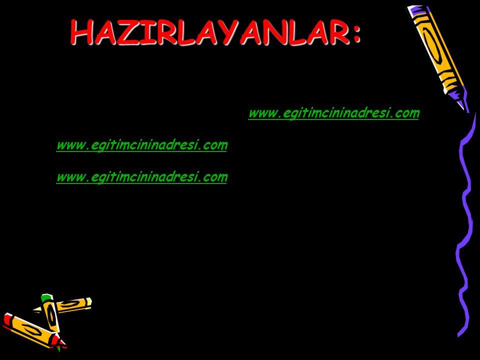 HAZIRLAYANLAR: www.egitimcininadresi.com