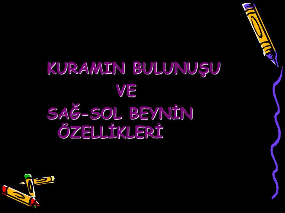 KURAMIN BULUNUŞU VE VE SAĞ-SOL BEYNİN ÖZELLİKLERİ www.egitimcininadresi.com