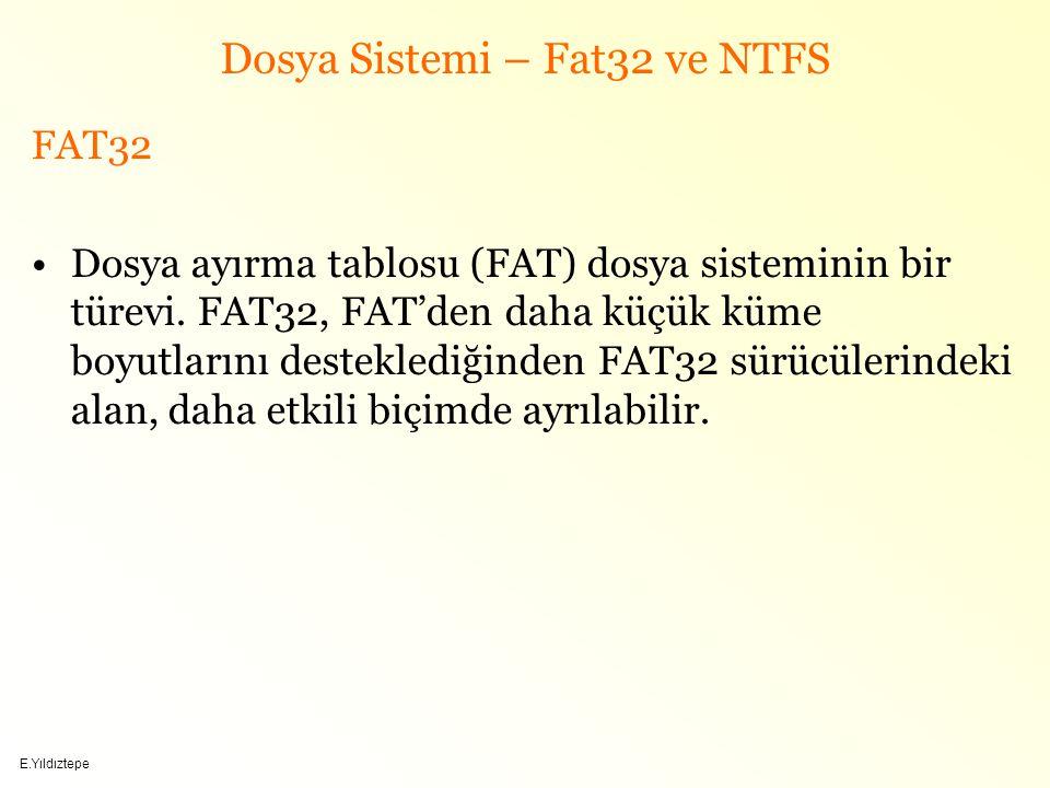 E.Yıldıztepe Dosya Sistemi – Fat32 ve NTFS FAT32 Dosya ayırma tablosu (FAT) dosya sisteminin bir türevi.