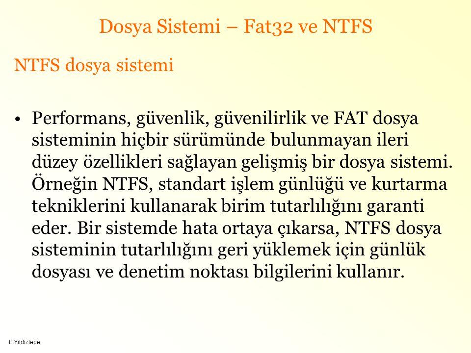 E.Yıldıztepe Dosya Sistemi – Fat32 ve NTFS NTFS dosya sistemi Performans, güvenlik, güvenilirlik ve FAT dosya sisteminin hiçbir sürümünde bulunmayan ileri düzey özellikleri sağlayan gelişmiş bir dosya sistemi.