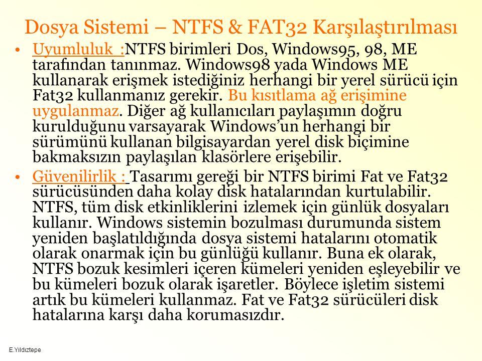 E.Yıldıztepe Dosya Sistemi – NTFS & FAT32 Karşılaştırılması Uyumluluk :NTFS birimleri Dos, Windows95, 98, ME tarafından tanınmaz.