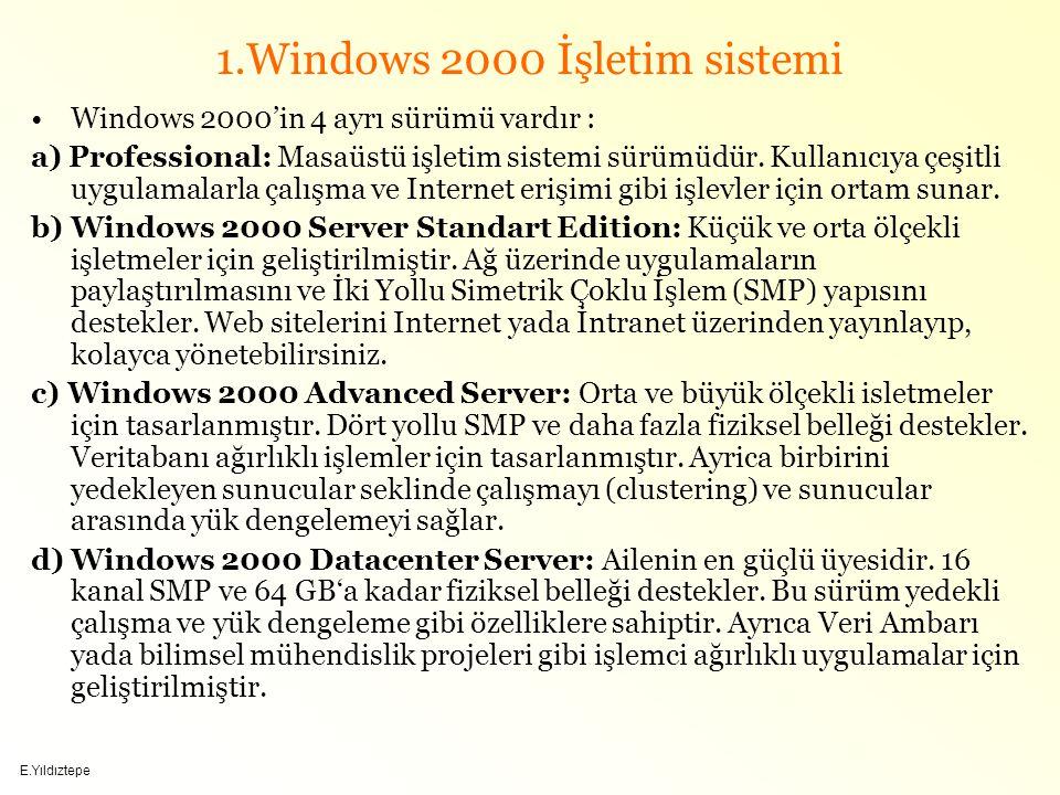 E.Yıldıztepe 1.Windows 2000 İşletim sistemi Windows 2000'in 4 ayrı sürümü vardır : a) Professional: Masaüstü işletim sistemi sürümüdür.