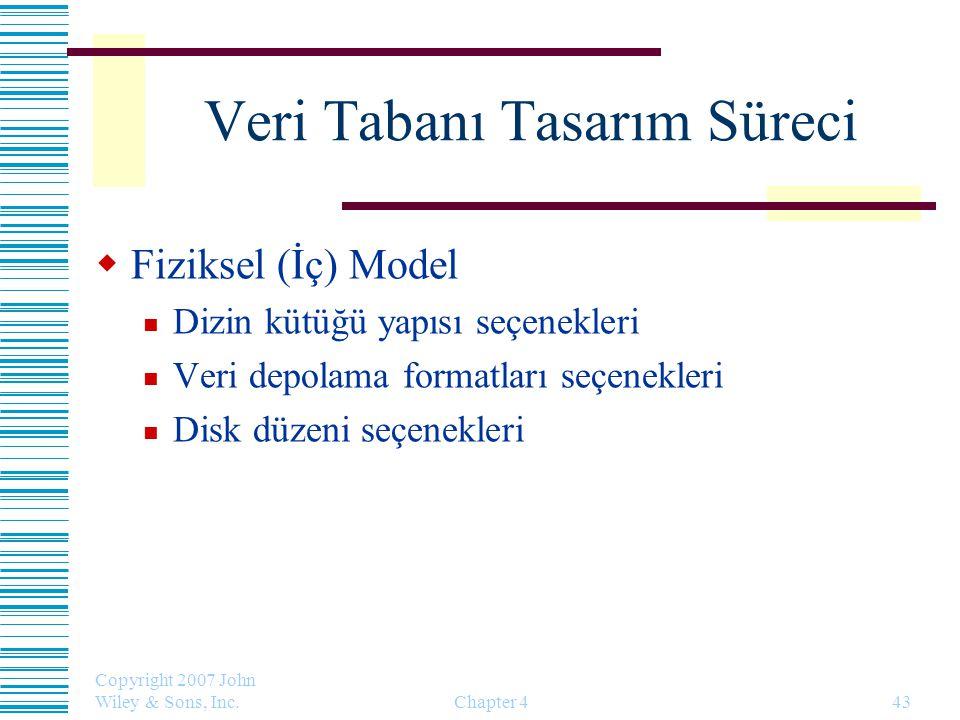 Copyright 2007 John Wiley & Sons, Inc. Chapter 443 Veri Tabanı Tasarım Süreci  Fiziksel (İç) Model Dizin kütüğü yapısı seçenekleri Veri depolama form