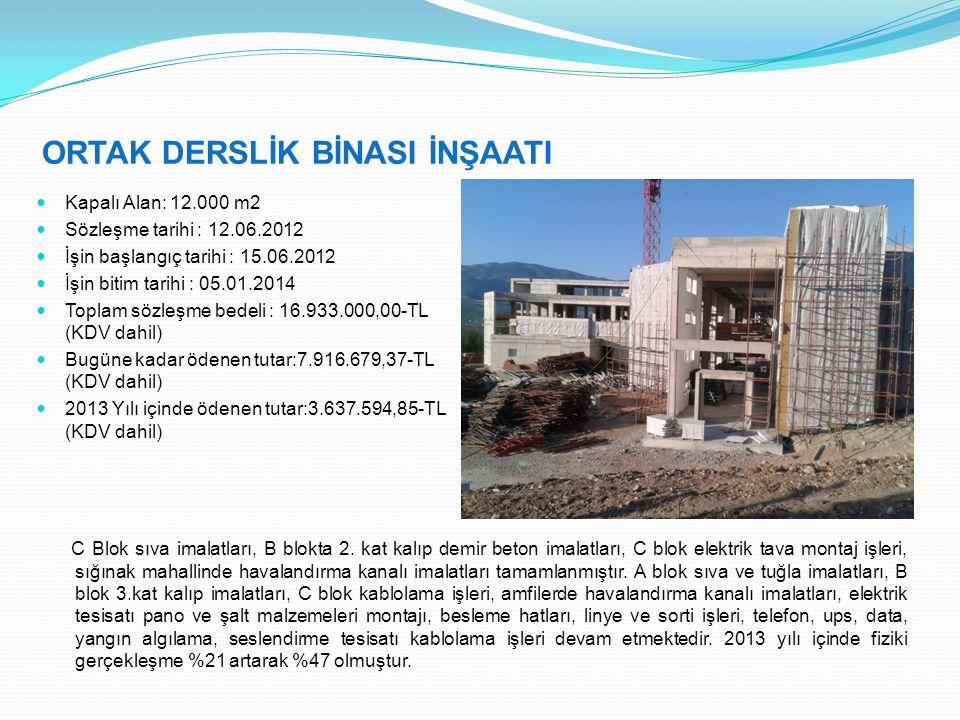 ORTAK DERSLİK BİNASI İNŞAATI Kapalı Alan: 12.000 m2 Sözleşme tarihi : 12.06.2012 İşin başlangıç tarihi : 15.06.2012 İşin bitim tarihi : 05.01.2014 Toplam sözleşme bedeli : 16.933.000,00-TL (KDV dahil) Bugüne kadar ödenen tutar:7.916.679,37-TL (KDV dahil) 2013 Yılı içinde ödenen tutar:3.637.594,85-TL (KDV dahil) C Blok sıva imalatları, B blokta 2.