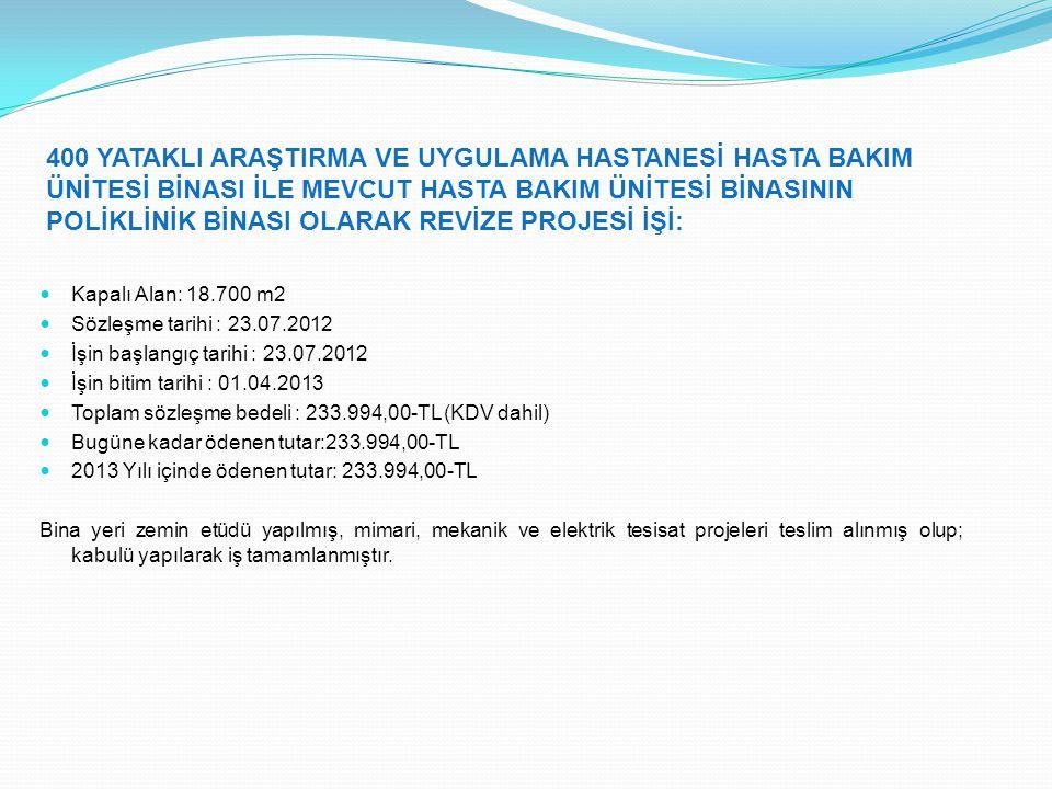 MÜHENDİSLİK VE DOĞA BİLİMLERİ FAKÜLTESİ EK BİNA PROJESİ İŞİ: Kapalı Alan: 7.000 m2 Sözleşme tarihi : 04.01.2013 İşin başlangıç tarihi : 09.01.2013 İşin bitim tarihi : 09.07.2013 Toplam sözleşme bedeli : 56.050,00-TL (KDV dahil) Bugüne kadar ödenen tutar:0,00-TL 2013 Yılı içinde ödenen tutar: 0,00-TL Mimari ön proje tamamlanmış, mimari kesin proje, statik, mekanik ve elektrik tesisat projeleri tamamlanmış, eksiklikler tespit edilerek eksikliklerin giderilmesi sağlanmaktadır.