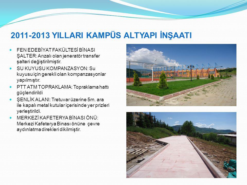 2011-2013 YILLARI KAMPÜS ALTYAPI İNŞAATI FEN EDEBİYAT FAKÜLTESİ BİNASI ŞALTER: Arızalı olan jeneratör transfer şalteri değiştirilmiştir.