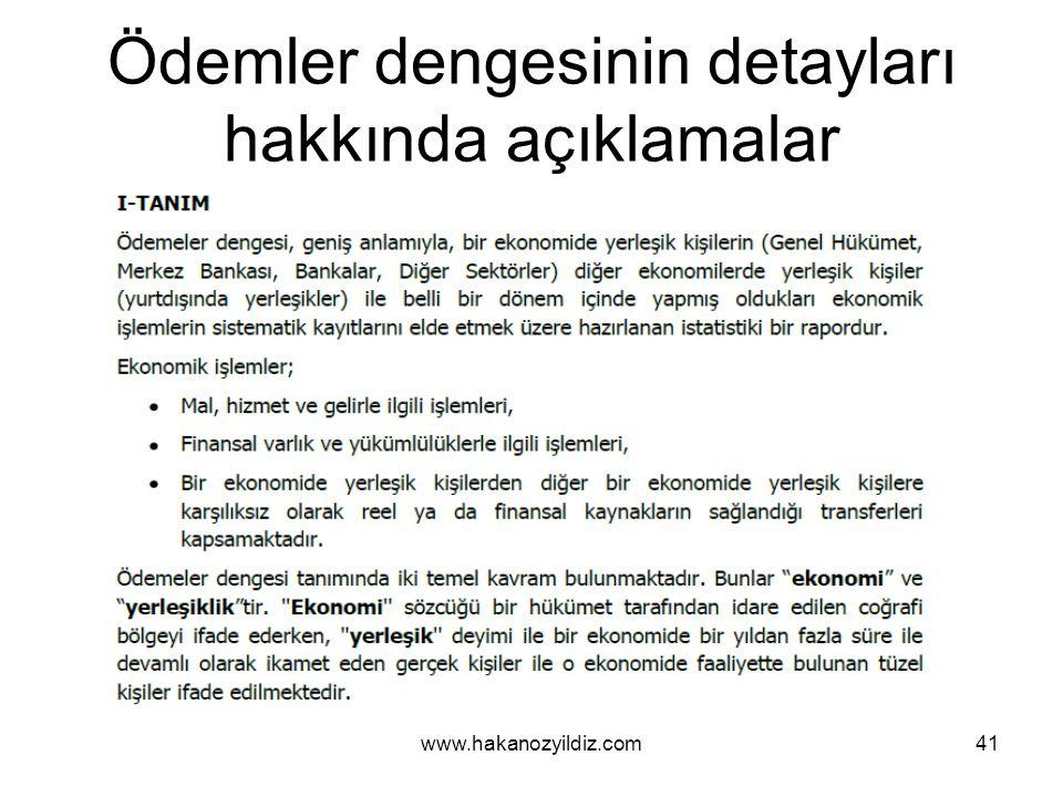 Ödemler dengesinin detayları hakkında açıklamalar www.hakanozyildiz.com41