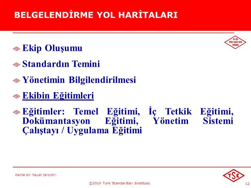 Kalite bir hayat tarzıdır. ©2010 Türk Standardları Enstitüsü 12 BELGELENDİRME YOL HARİTALARI Ekip Oluşumu Standardın Temini Yönetimin Bilgilendirilmes