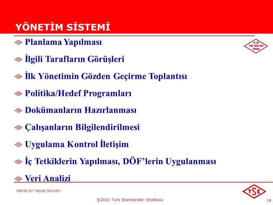 Kalite bir hayat tarzıdır. ©2010 Türk Standardları Enstitüsü 14 YÖNETİM SİSTEMİ Planlama Yapılması İlgili Tarafların Görüşleri İlk Yönetimin Gözden Ge