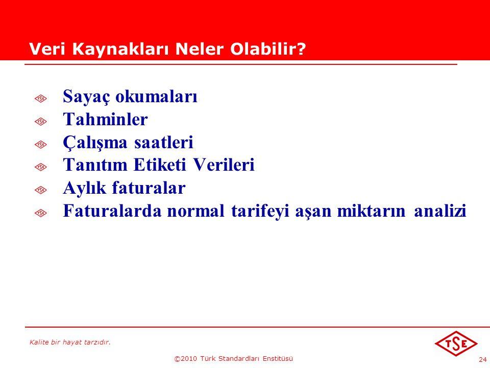 Kalite bir hayat tarzıdır. ©2010 Türk Standardları Enstitüsü 24 Veri Kaynakları Neler Olabilir? Sayaç okumaları Tahminler Çalışma saatleri Tanıtım Eti