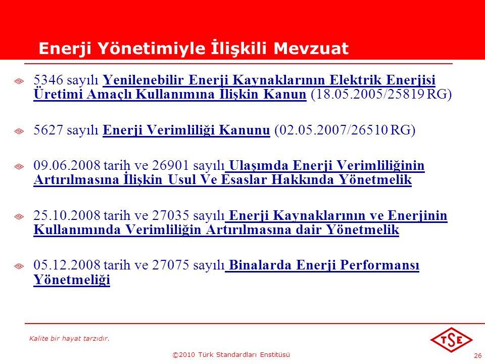 Kalite bir hayat tarzıdır. ©2010 Türk Standardları Enstitüsü 26 Enerji Yönetimiyle İlişkili Mevzuat 5346 sayılı Yenilenebilir Enerji Kaynaklarının Ele