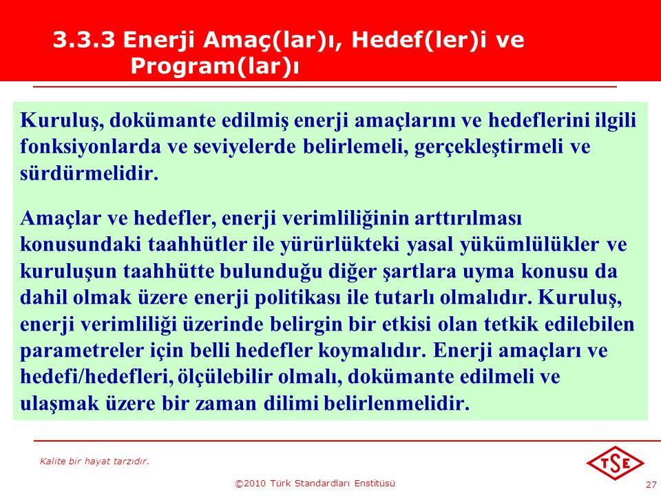 Kalite bir hayat tarzıdır. ©2010 Türk Standardları Enstitüsü 27 3.3.3 Enerji Amaç(lar)ı, Hedef(ler)i ve Program(lar)ı Kuruluş, dokümante edilmiş enerj