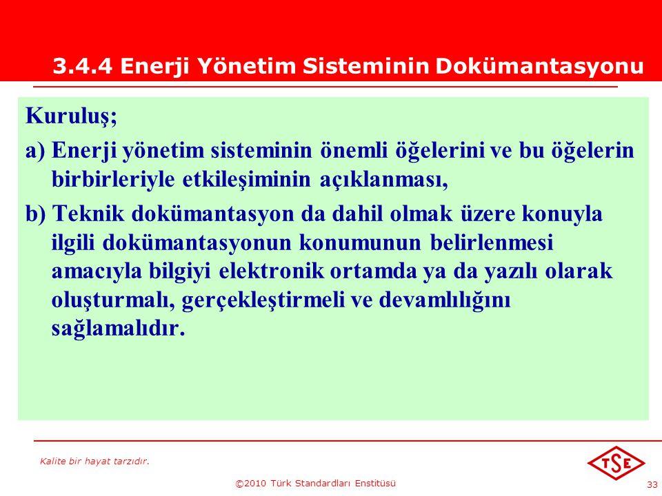 Kalite bir hayat tarzıdır. ©2010 Türk Standardları Enstitüsü 33 3.4.4 Enerji Yönetim Sisteminin Dokümantasyonu Kuruluş; a) Enerji yönetim sisteminin ö