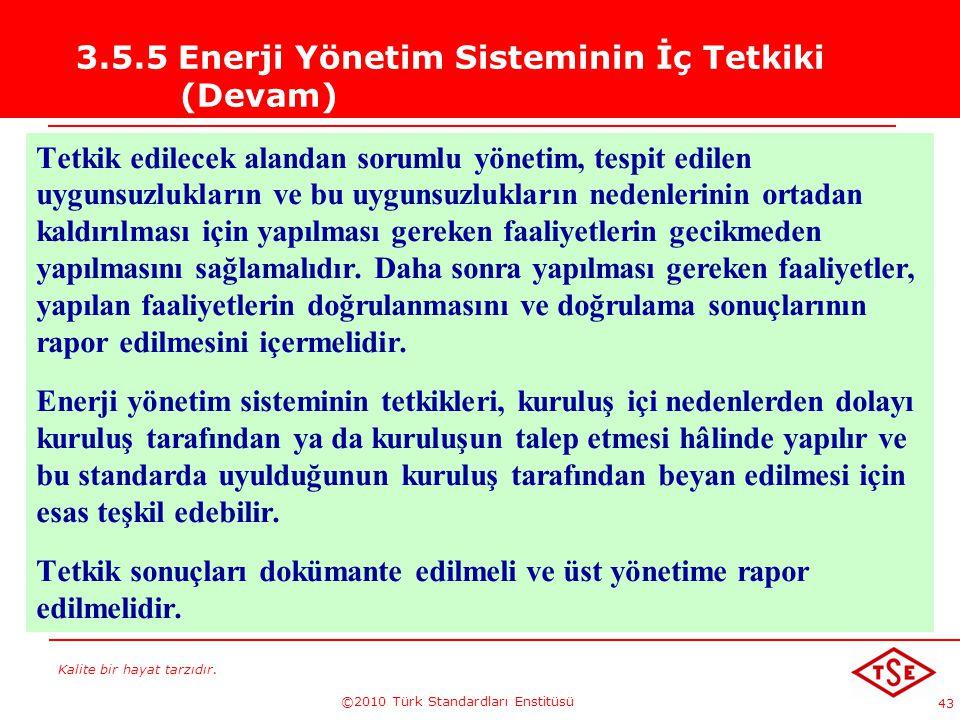 Kalite bir hayat tarzıdır. ©2010 Türk Standardları Enstitüsü 43 3.5.5 Enerji Yönetim Sisteminin İç Tetkiki (Devam) Tetkik edilecek alandan sorumlu yön